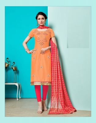 Peach embroidered faux cotton salwar