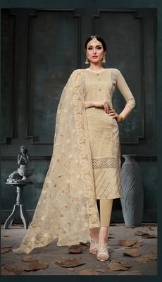 Beige embroidered faux cotton salwar