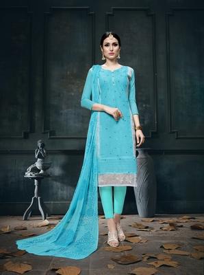 Light-Blue Embroidered Faux Cotton Salwar