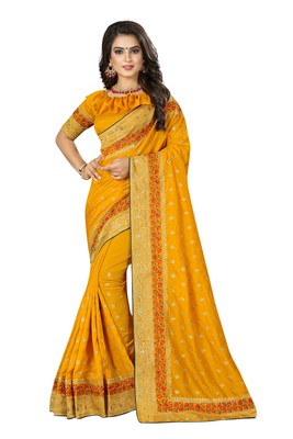 Yellow embroidered banarasi silk saree with blouse