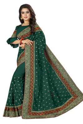 Green embroidered banarasi silk saree with blouse