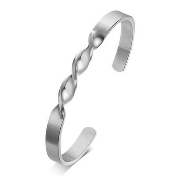 Daily Wear Slim Platinum Silver 316L Surgical Stainless Steel Open Free Size Cuff Kada Bangle Bracelet for Men Boys