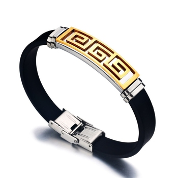 Gold Black 316L Surgical Stainless Steel Silicone Adjustable Wrist Band Bracelet for Men Boys