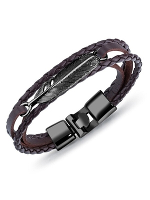 Triple Layer Black Feather Brown 100% Genuine Braided Leather Wrist Band Strand Bracelet for Men Women Boys Girls