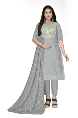 Grey gotta patti chanderi salwar