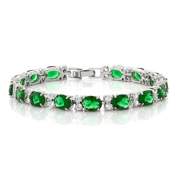 Emerald Green Studed AAA Austrian Crystal Cubic Zirconia Tennis Bracelet for Girls Women