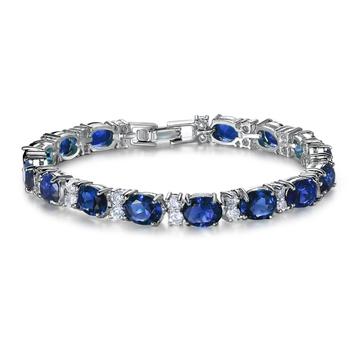 Sapphire Blue Studed AAA Austrian Crystal Cubic Zirconia Tennis Bracelet for Girls Women