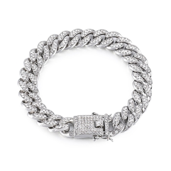 Curb Cuban Hip Hop Links Heavy Chunky Platinum Plated AAA Cubic Zirconia Fancy Lock Bracelet for Men Boys