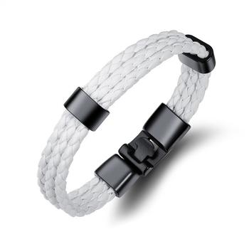 Biker Stylish Triple Layer Black White Handcrafted Genuine Leather Wrist Band Wrap Bracelet for Boys Girls Men Women