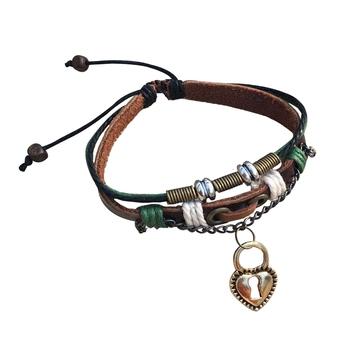 Handmade Valentine Gift Love Couple Heart Lock Brown Green Strand Leather Wrist Band Strap Bracelet for Boys Girls