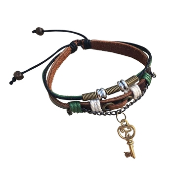 Handmade Valentine Gift Love Couple Heart Key Brown Green Strand Leather Wrist Band Strap Bracelet for Boys Girls