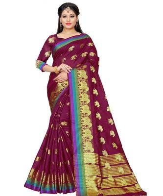 Magenta woven cotton saree with blouse