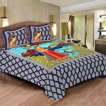 Multicolor Cotton Double Bedsheets