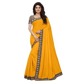 yellow plain Chanderi Cotton Kalamkari  saree with blouse
