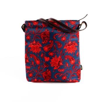 Sling/Shoulder Bag - Red Floral Paisely