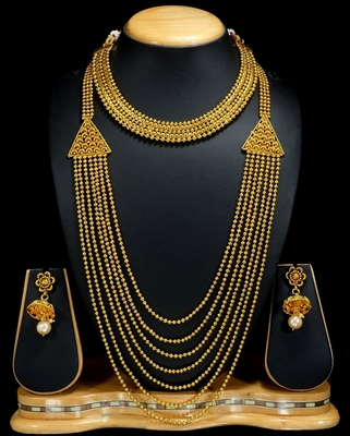 Royal Copper Golden Combo Jewelry Necklace Set