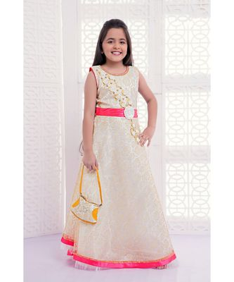 white embroidered Net kids girl gowns