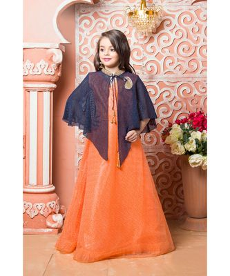 Orange embroidered net kids girl gowns