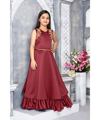 Maroon embroidered polyester kids girl gowns
