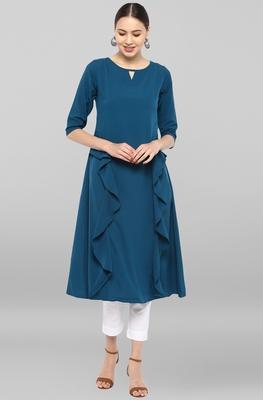 Turquoise plain crepe ethnic-kurtis