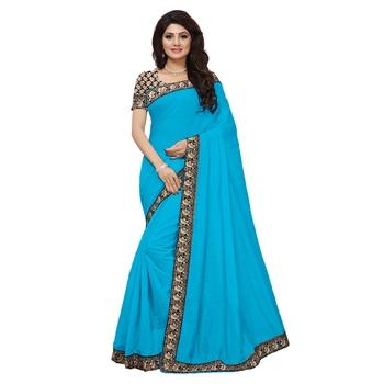 Turquoise plain Chanderi Cotton Kalamkari  saree with blouse With Kalamkari Blouse