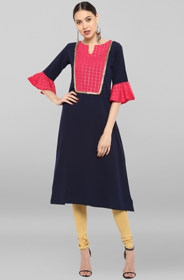 Blue plain crepe ethnic-kurtis