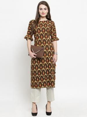 Brown woven rayon kurtas-and-kurtis
