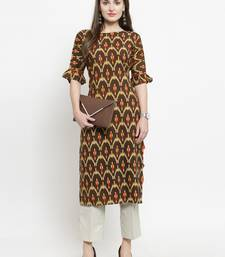 Indibelle Brown woven rayon kurtas-and-kurtis