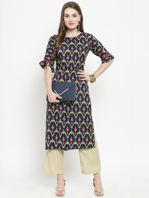 Blue woven rayon kurtas-and-kurtis