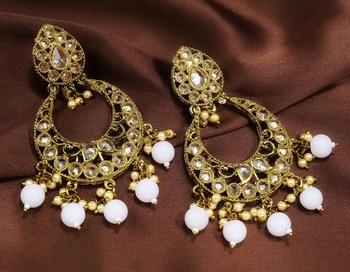Designer Baby Pink Antique Gold Plated AD Zircon Bead Drop Earrings