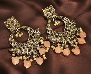 Designer Peach Antique Gold Plated AD Zircon Bead Drop Earrings