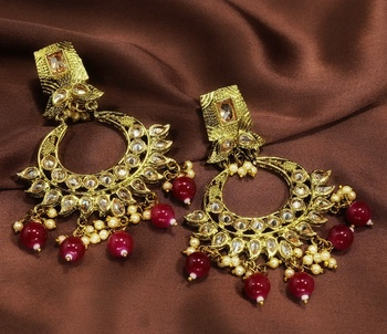 Designer Marron Antique Gold Plated AD Zircon Bead Drop Earrings