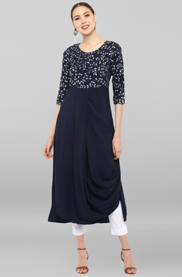 Dark-blue printed crepe ethnic-kurtis