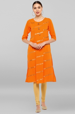 Orange printed crepe ethnic-kurtis