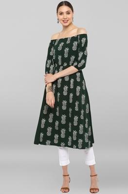 Dark-green printed crepe ethnic-kurtis