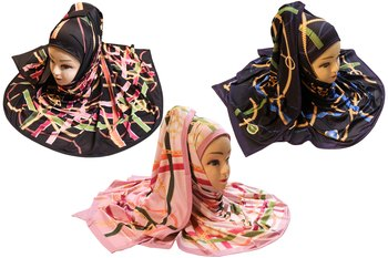Justkartit Women's Organic Lycra Stretchable Daily Wear Printed Hijab Scarf Dupatta (Pack Of 3)