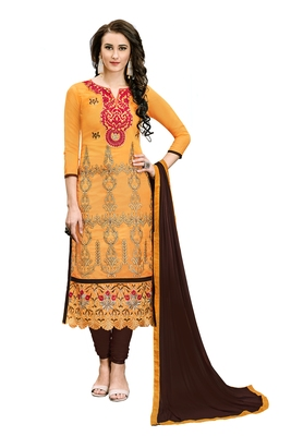 Orange Embroidered Faux Cotton Salwar