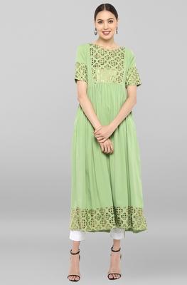 Light-green printed crepe ethnic-kurtis