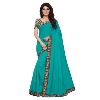 sea green plain Chanderi Cotton Kalamkari  saree with blouse