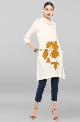 Off-white printed rayon ethnic-kurtis