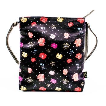 Black Sling/Shoulder Bag - Flowers all over