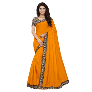 orange plain Chanderi Cotton Kalamkari  saree with blouse