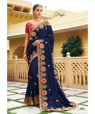 blue embroidered jacquard saree with blouse