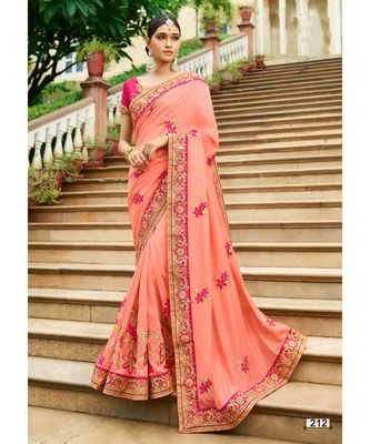 peach embroidered jacquard saree with blouse