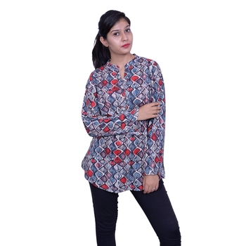 Blue printed rayon embroidered-kurtis
