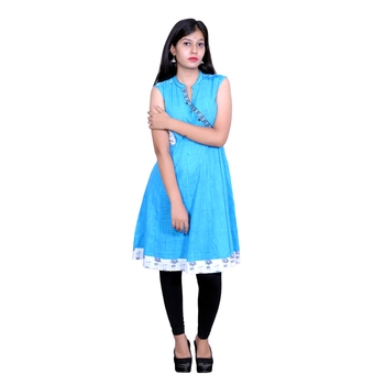 Blue plain cotton embroidered-kurtis