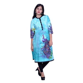 Blue printed cotton embroidered-kurtis
