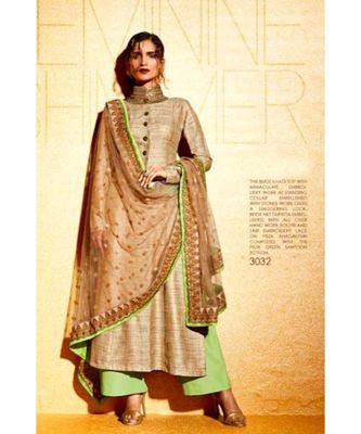brown embroidered santoon semi stitched salwar with dupatta