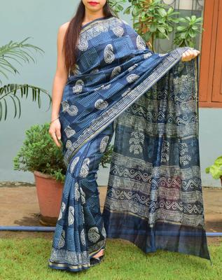 Dark blue printed chanderi silk saree with blouse