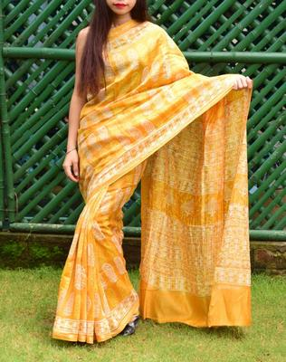 Yellow printed chanderi silk saree with blouse